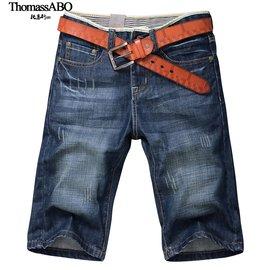 下殺價七分牛仔褲男 牛仔短褲男寬鬆直筒馬褲修身五分褲男褲大碼薄款