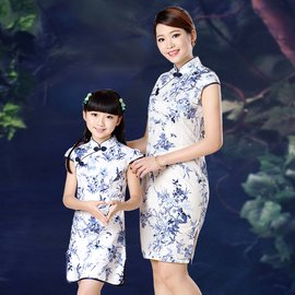 女童純棉旗袍 親子裝母女旗袍裙 兒童表演演出服裝 連衣裙小時代 母嬰