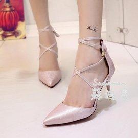 尖頭低筒細跟優雅10厘米高跟鞋交叉綁帶涼鞋女