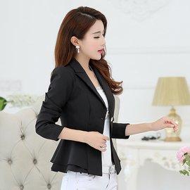 女夏荷葉邊長袖職業裝薄外套 白領修身OL小款女士西服女一個扣