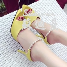 女 尖頭細跟魚嘴高跟涼鞋一字串珠性感時裝鞋女鞋