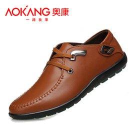 奧康男士皮鞋商務 鞋真皮透氣男鞋駕車豆豆鞋大碼小碼潮男單鞋