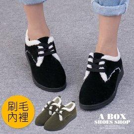 格子舖~~AS210~寒冬  麂皮毛絨絨鋪毛內裡 2.5CM跟高 綁帶休閒踝靴 雪鞋 2色