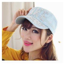 牛仔帽子女夏 潮鴨舌帽女款 TAKE帶鑽戶外遮陽帽女士平頂帽