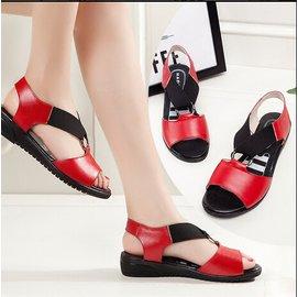 大碼涼鞋女平跟牛皮護士涼鞋平底媽媽涼鞋牛筋底孕婦魚嘴涼鞋DL4780