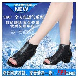 歐洲站蕾絲網紗魚嘴鞋粗跟單鞋女中跟媽媽鞋 羅馬真皮坡跟涼鞋