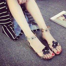 羅馬鞋交叉帶夾腳平跟花朵涼鞋復古學生女鞋