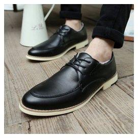 五山龍 真皮透氣男士 鞋商務 簡約小皮鞋復古英倫風增高男鞋子09黑色40準 黑色 42