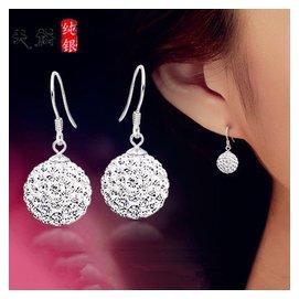 925純銀耳環女圓球形水晶微鑲鑽鍍白金耳釘耳墜 防過敏耳飾品