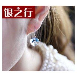 奧地利水晶海洋之心形耳環鍍18白金925純銀耳釘耳掛銀飾品女