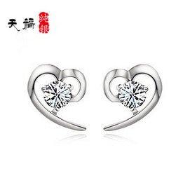 925純銀耳釘女開口愛心形鑲鑽鍍白金耳環耳墜送 防過敏耳飾品