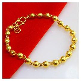 不掉色黃金手鏈男士女款24純金圓珠鍍金轉運珠光珠佛珠首飾