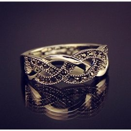 復古鍍925純銀戒指 泰銀馬克賽石戒指 情侶 花藤花紋男女指環