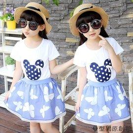 女童套裝 寶寶兒童套裝 女童夏衣服 卡通碎花裙子兩件套兒童夏裝