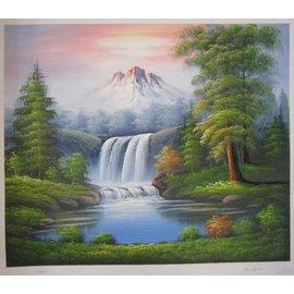 ~府城畫廊~手繪油畫~山水畫~聚財湖50x60~ 已繃內架,可直接吊掛 ~ 數千張油畫國畫
