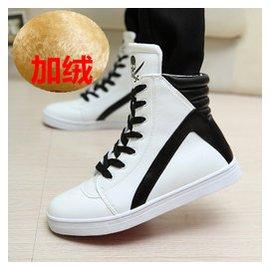 鼕季男士棉鞋男高幫板鞋保暖大碼男鞋子 內增高馬丁靴英倫男靴