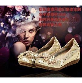 新品中跟單鞋水鑽真皮平底坡跟內增高圓頭蝴蝶結軟底豆豆女鞋
