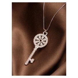 包郵 韓國百搭項鏈頸鏈大牌圓形鑰匙鎖骨鏈鑲鑽水晶鍍18k白金