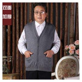 秋鼕加厚中老年爸爸v領羊絨馬甲開衫男士羊毛背心男裝坎肩加大碼