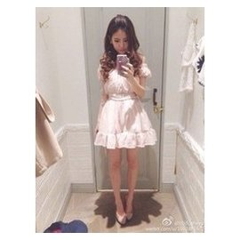 甜美紗榮子露肩禮服裙蓬蓬拼接連衣裙燈籠袖雪紡紗裙