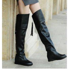 女冬靴子 高筒靴  過膝靴長靴 平跟皮靴   平底女靴瘦腿