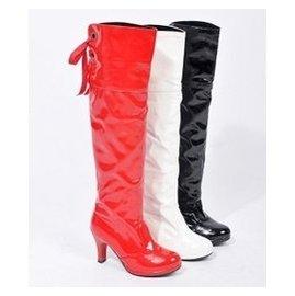 特大碼白色漆皮過膝靴長靴子女靴粗跟高跟鋼管舞爵士舞蹈靴高筒靴