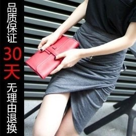 韓範 女開叉不規則高腰包臀裙性感半身裙針織黑色短裙子hm