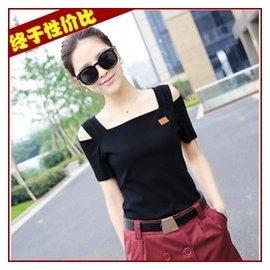露肩顯瘦條紋短袖t恤夏裝半袖女 韓範一字領性感小衫漏肩上衣女版