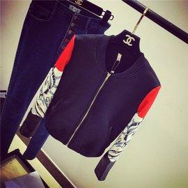 2016  印花袖口拼皮太空棉拉鏈圓領短外套女夾克棒球服
