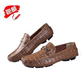 豆豆鞋男真皮鱷魚紋男鞋英倫皮鞋男士 鞋大碼懶人駕車鞋單鞋子