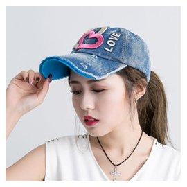 牛仔帽子女夏天 潮 平頂帽棒球帽繡花太陽鴨舌帽遮陽帽
