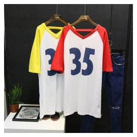 韓國東大門訂單 2015年 女裝V領字母數字35插肩袖中長款T恤