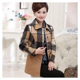 中年女裝春裝長袖上衣媽媽裝40~50歲毛呢外套中老年 呢子大衣