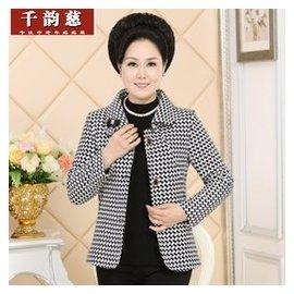中老年女裝大碼長袖上衣服40~50歲中年媽媽裝秋裝毛呢外套女士