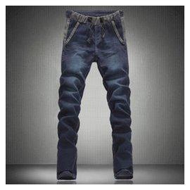 春款男士松緊帶修身型 大號加肥加大碼鉛筆小腳長褲子牛仔褲潮