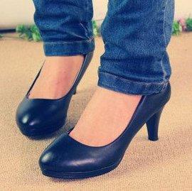 通勤職業鞋防水臺圓頭黑色工作鞋皮鞋中跟粗跟船鞋單鞋女鞋子