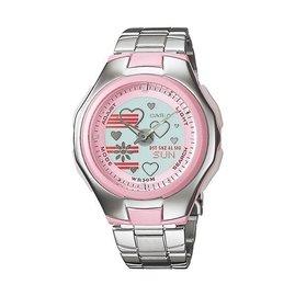 卡西歐CASIO Popton系列 蜜桃甜心雙顯鋼帶錶^(LCF~10D~4A^) ^(L