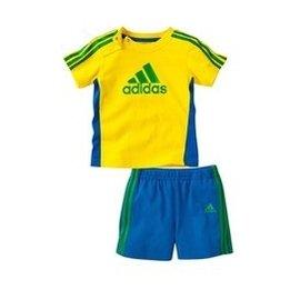 夏裝足球巴西球服三葉草男童寶寶嬰兒短袖恤短褲 套裝