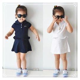 外貿原單春夏女童中大童純棉翻領荷葉邊 風短袖連衣裙連身裙