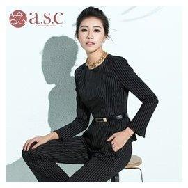 艾尚臣 職業套裝女 職業裝女裝套褲長袖條紋西裝正裝工作服