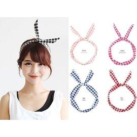 首爾小姐~韓國 ~ ~.粉彩格紋蝴蝶結鐵絲髮帶髮箍