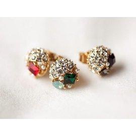 首爾小姐~韓國 ~ ~炫目寶石.優雅精美鑲嵌彩色水晶鑽飾925純銀耳針耳環