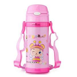 兒童卡通保溫杯 不鏽鋼帶吸管水壺杯子 學生保溫瓶水杯帶杯蓋保溫水壺 嬰兒吸管杯 學飲杯 4