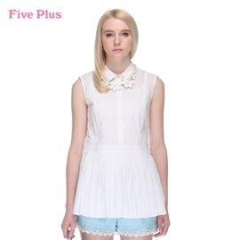 新女夏裝純棉純色釘珠翻領中長寬松無袖襯衫2132010150