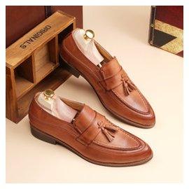 青春潮流 英倫增高尖頭男鞋擦色皮復古布洛克雕花男士 皮鞋
