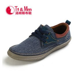 TtMm湯姆斯男鞋 英倫低幫鞋男駕車繫帶帆船鞋男士牛仔布 鞋