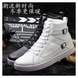 鼕季高幫男鞋英倫內增高皮鞋馬丁靴男士 棉鞋大碼保暖加絨