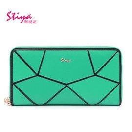 斯提亞 女士手拿包牛皮長款拉鏈錢包 多卡位女式零錢包 撞色幾何拼接錢夾 綠色