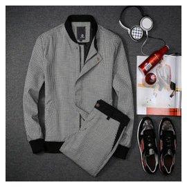 丹傑仕夏冬春2015春 男士 千鳥格夾克套棒球領套裝男 修身衛衣青年學生衛褲 褲 黑色