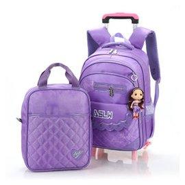 小學生3~6年級女童兒童拉杆書包雙肩學生背包減負防水多用包 淺紫色